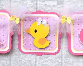 duck banner, baby shower banner, its a girl banner, pink and yellow