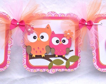 Owl baby shower banner, owl banner, owl girl banner, owl decorations, its a girl banner, orange and pink, nursery decor, table banner, SALE