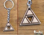 Zelda Triforce wood keyring OR charm accessory