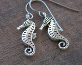 Titanium Earrings, Silver Seahorse Charms with Hypoallergenic Titanium Ear Wires