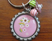 SALE--White Flowers on Pink Background with Pink and Green Beads Bottle Cap Keychain