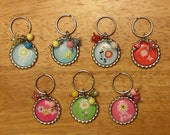Party Favors--Bottle Cap Keychains with Coordinating Beads--Lot of 7