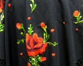 Black Shawl Throw Wrap Embroidered Rose Fringed