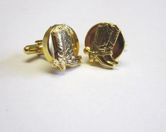 Boot Cuff Links Cowboy Western Cufflinks Gold