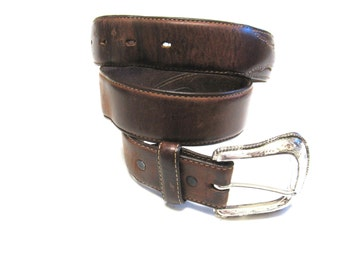 Dark Brown Belt Leather Mens Size 32 Western