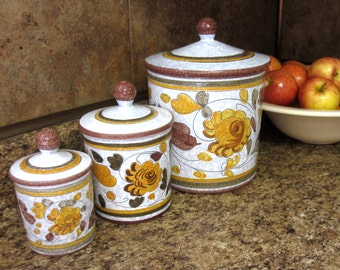 Oatmeal Brown Yellow Canisters Set of 3 Italy