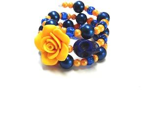 Day of the Dead Bracelet Sugar Skull Wrap Cuff Golden Yellow Navy Blue Rose