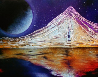 "Spray Paint Art Original Mountain Reflection Landscape Poster Painting 14"" x 11"""