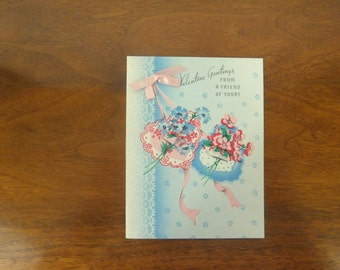 Sweet 1950's Valentines Day Card Unused with Hearts, Flowers and Pink Bows