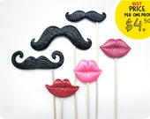 Wedding Photo Booth Props - 6 Plastic Mustache and Lips on sticks - Wedding photobooth props - Best Price