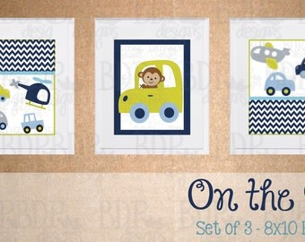 On the Go Nursery Art - Set of 3 Prints - Matches Carter's Child of Mine On the Go