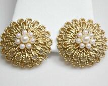 Vintage AVON Clip On Earrings - Goldtone / Faux Pearls - Ornate / Filigree - Designer Signed - Estate Sale Jewelry - Great Gift