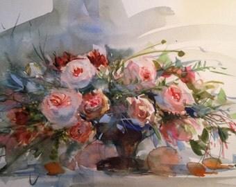 5 Original Watercolor Flower Cards Prints