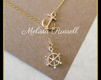Gold Nautical Lariat Necklace with Anchor and Steering Wheel, love, anniversary, engagement, handmade jewelry, holiday, Christmas gifts, mom