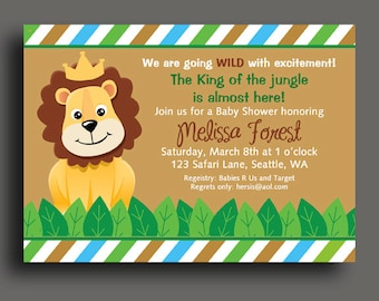King of the Jungle Lion Invitation Printable or Printed with FREE SHIPPING - Safari, Jungle, Zoo Animals - Birthday, Baby Shower, Zoo Party
