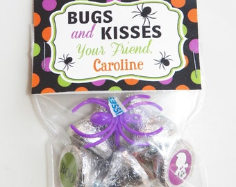 Personalized Halloween Treat Tags or Labels - Bugs and Kisses Tent Style Tags - Halloween Party Collection