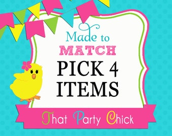 Made to Match Mini Party Bundle Printables - Pick 4 Items