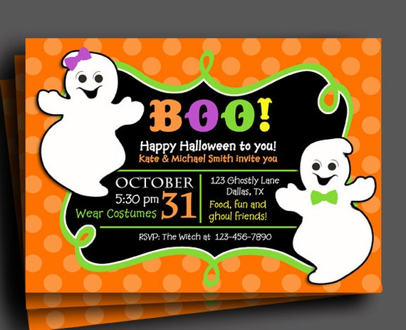 Halloween Ghost Sibling Invitation Printable or Printed with FREE – Costume Party Invitations Free Printable