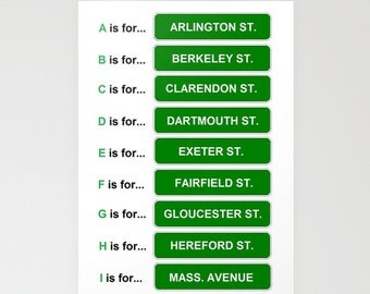 5x7 Boston ABC street signs stationery blank notecard
