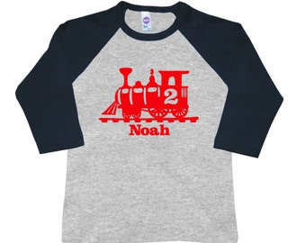 Personalized Train Birthday Shirt - any age and name -3/4 sleeves raglan - pick your colors!