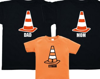 Set of 3 Traffic Cone Construction Party Shirts - Mom Dad Kid Matching Party Shirts - Pick your colors!