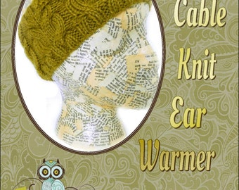PDF KNITTING PATTERN, Owl Cable Knit Ear Warmer, Instant Download, Charted and Written Instructions