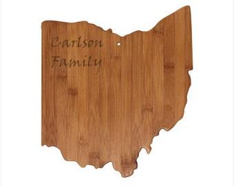 Personalized Ohio Cutting Board - Ohio Shaped Bamboo Cutting Board Custom Engraved - Wedding Gift, Couples Gift, Housewarming Gift