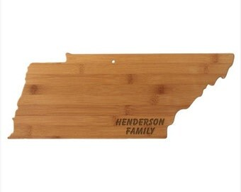 Personalized Tennessee Cutting Board - Tennessee Shaped Bamboo Cutting Board Custom Engraved - Wedding Gift, Couples Gift, Housewarming Gift
