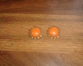 vintage clip on earrings goldtone orange glass