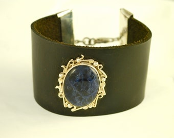 Leather and Silver Sodalite Music Bracelet_034