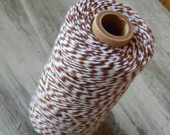 Brown and White Bakers Twine - 240 yard Spool - Made in USA - Cotton Twine - Craft String - 4 Ply Bakers Twine - Thread