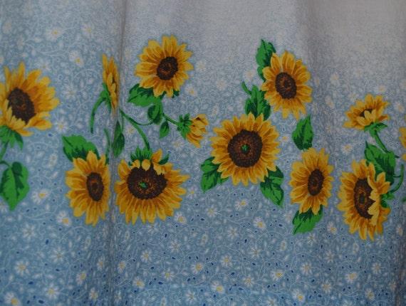 Vintage Kitchen Curtains . Sunflower Curtains . Blue Fades to White . Super Cute by  SeamsOriginal