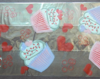 CelloTreat Bags-Red Hearts & Cupcakes.