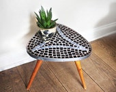 1950s Small Tripod Table/ Plant Stand. Black, Light blue, Natural Wood. Triangular Table. PSMOVING2015