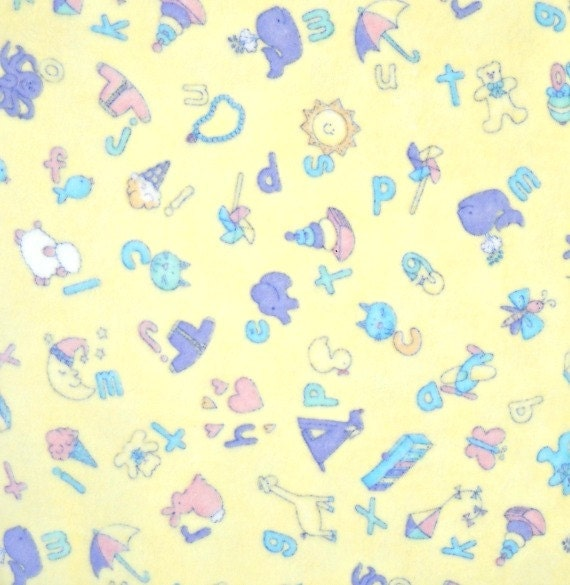 Baby talk yellow alphabet flannel fabric by cheri strole for Yellow baby fabric