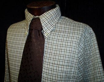 "70s 16 1/2"" Brown Plaid Button Down Big Collar Shirt Forsyth Marquis Tie"