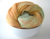 SALE: Local NY Hand Dyed Yarn MELON Blue Faced Leicester Sock/Fingering Weight Green, Orange