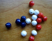 Lot of 77 Red White and Blue Vintage Beads, Jewelry making supplies