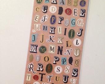 NEW die cut Alphabet Sticker Sheet