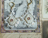 Antique French 1910 lace earrings embellished w/ antique mother of pearl buttons, rose gold beads, swarovski crystals vintage wedding bride