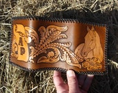 Leather Trifold Wallet with Choice of Horse, Deer, or Duck/Floral Design