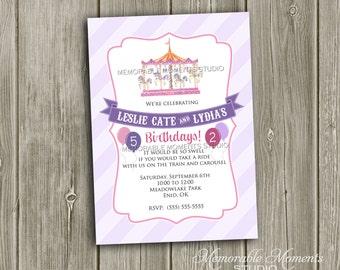 PRINTABLE INVITATIONS Carousel Party Invitation - Memorable Moments Studio