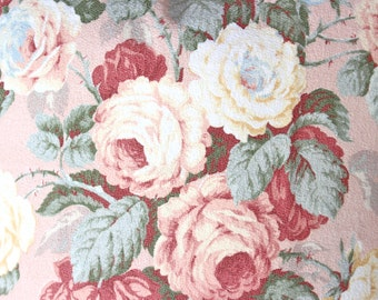 1930s Antique English Pink Cabbage Roses Floral Pattern Decorative Custom Vintage Barkcloth Fabric Throw Pillow