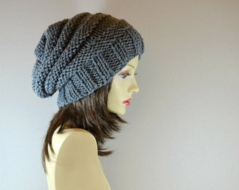 Hand Knit Chunky Hat Slouchy Women Hat in Charcoal Beanie, Knit Beret, Oversized Hat, Wool Beret