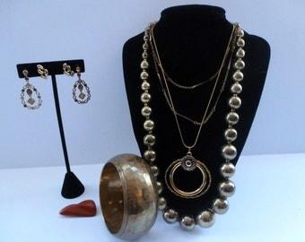 Bohemian Lot of Vintage Jewelry Necklaces Earrings Bracelet and Brooch Jewelry Lot