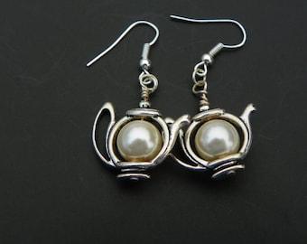 Pearl Teapot earrings Teapot earrings colorful earrings silver earrings dangle earrings tea earrings nickel and lead free earrings teapot