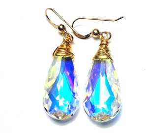 Swarovski crystal ab teardrop gold earrings