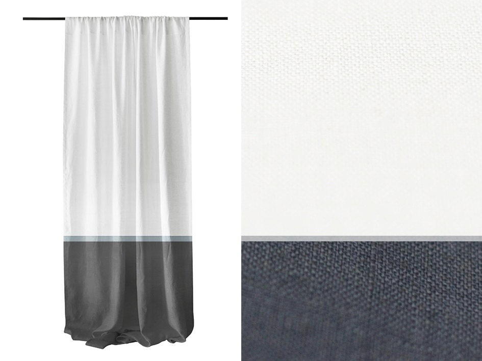 Color block curtain White Charcoal and Dove grey by LovelyHomeIdea