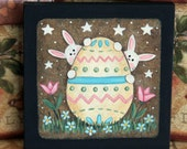 Hand Painted Primitive  Folk Art Easter Painting Bunnies Peeking Out From Behind Decorated Easter Egg, Tulips, Daisies, Spring Decor