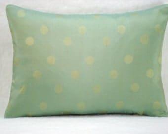 Silk Dot Decorative Silk Lumbar Pillow Accent Pillow 10x14 Pillow Cover
